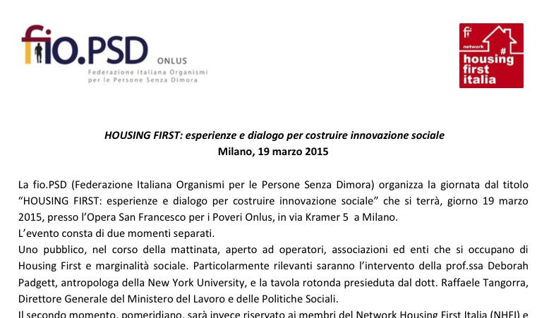 HOUSING FIRST: esperienze e dialogo per costruire innovazione sociale